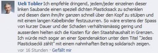 Facebook Beitrag von Ueli Tobler, SVP